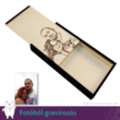 Egyedi fotó gravírozott fa doboz, széles tolltartó, több színben