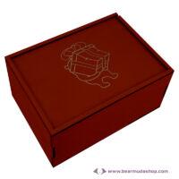 Egyedi mintás fa doboz, téglalap alapú 26x21, több színben