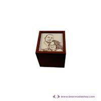 Egyedi fotó gravírozott fa doboz, négyzet alapú 5x5, több színben