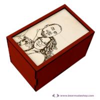 Egyedi fotó gravírozott fa doboz, névjegyes, több színben