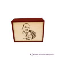 Egyedi fotó gravírozott fa doboz, téglalap alapú 14x10, több színben