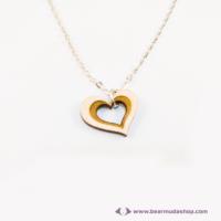 Szív a szívben gravírozott nyaklánc