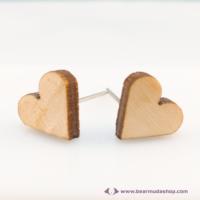 Mini nyírfa szív  gomb fülbevaló, több színben