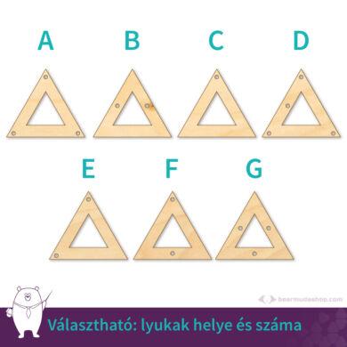 Kivágott háromszög ékszer fa medál alap 4 cm, többféle