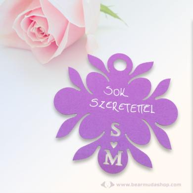 Monogramos kísérő cédula virág, több színben
