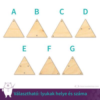 Háromszög ékszer fa medál alap 4 cm, többféle