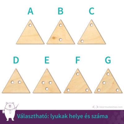Kicsi fa háromszög ékszer alap 2 cm, többféle