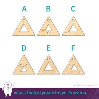 Kicsi fa kivágott háromszög ékszer alap 2 cm, többféle