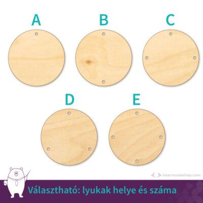 Kör ékszer fa medál alap 4 cm, többféle