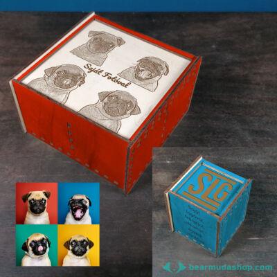 Egyedi mintás gravírozott tolótetős, négyzet alapú fadoboz több méretben és színben, tea / ékszer fakkos díszdoboz