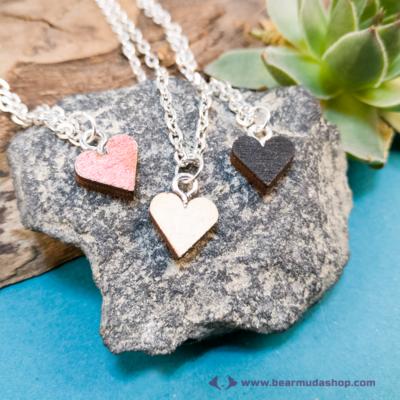 Mini nyírfa szív nyaklánc, több színben