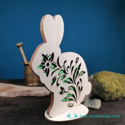 Húsvéti virágmintás nyúl dekoráció, álló dísz, asztaldísz több méretben és színben
