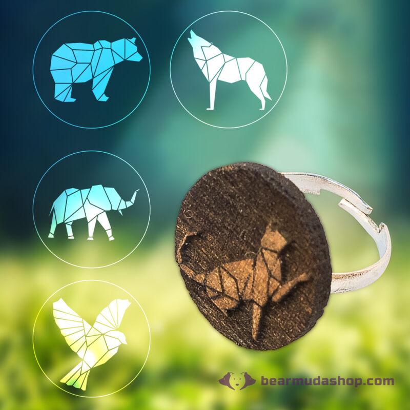 Geometrikus gravírozott állatos gyűrű