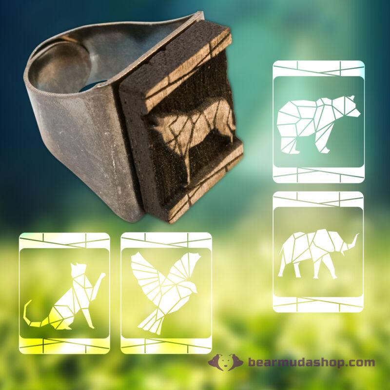 Geometrikus gravírozott állatos pecsétgyűrű
