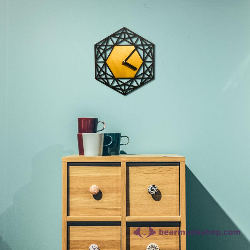 Geometrikus hatszög design falióra, több színben