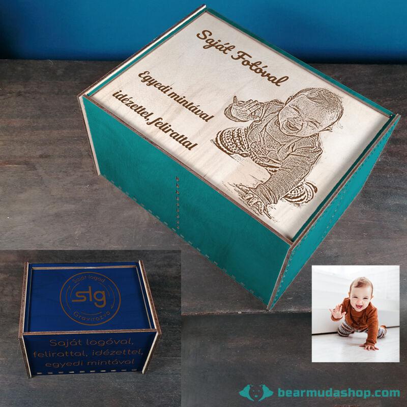 Egyedi mintás gravírozott tolótetős, téglalap alapú fadoboz több méretben és színben, tea / ékszer fakkos díszdoboz