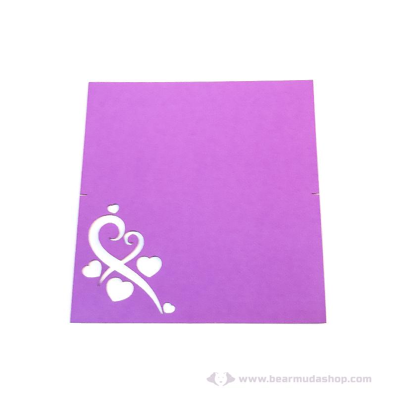 Írható papír ültető kártya szív, több színben