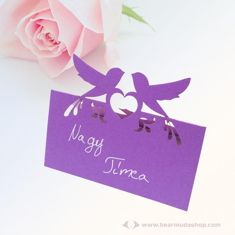 Írható papír ültető kártya madaras, több színben