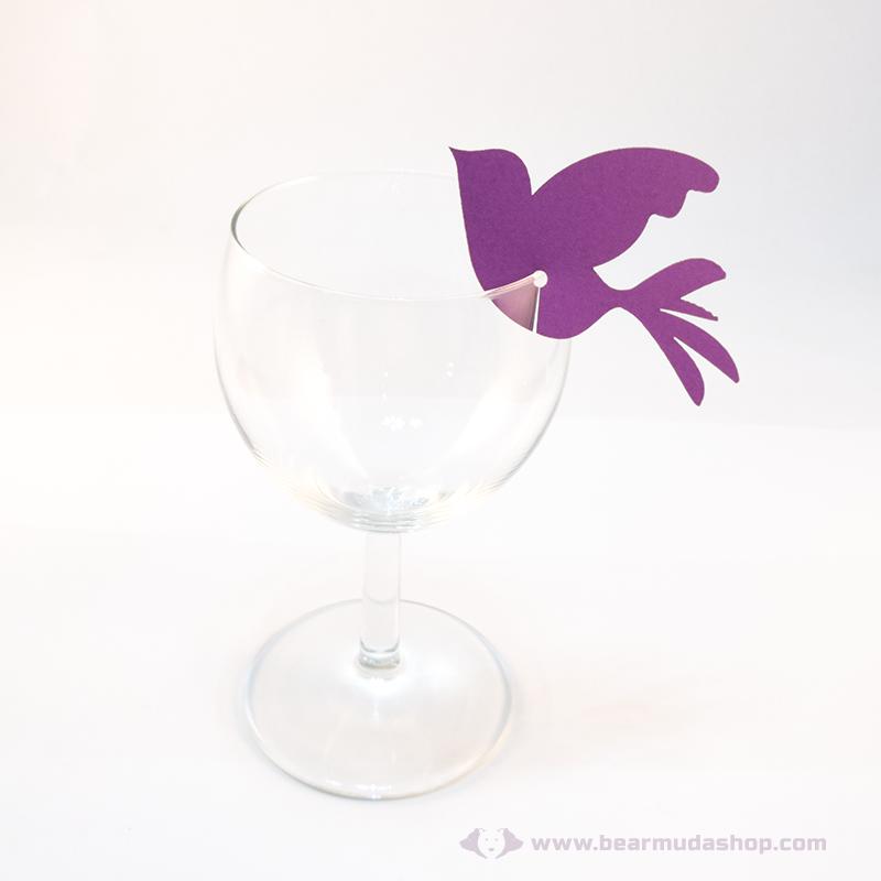 Írható papír pohár jelölő madár, több színben