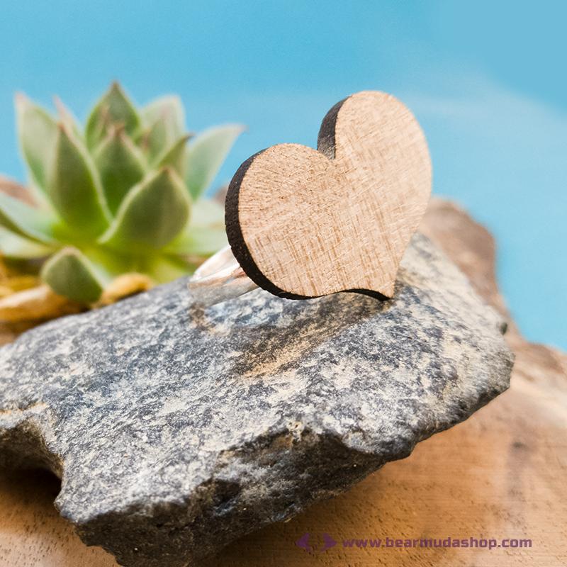 Diófa szív gyűrű
