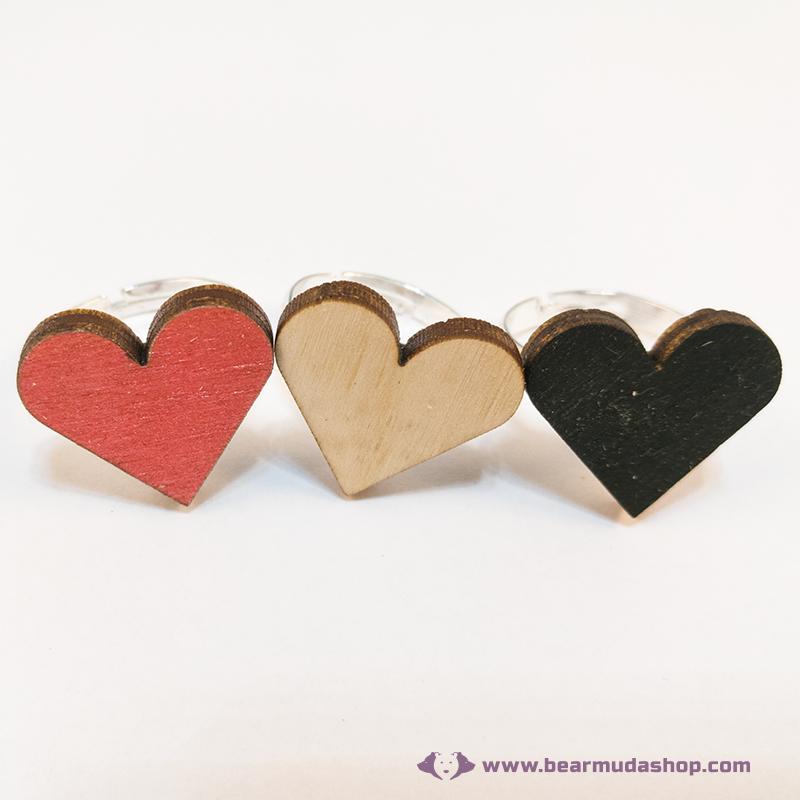 Nyírfa szív gyűrű, több színben
