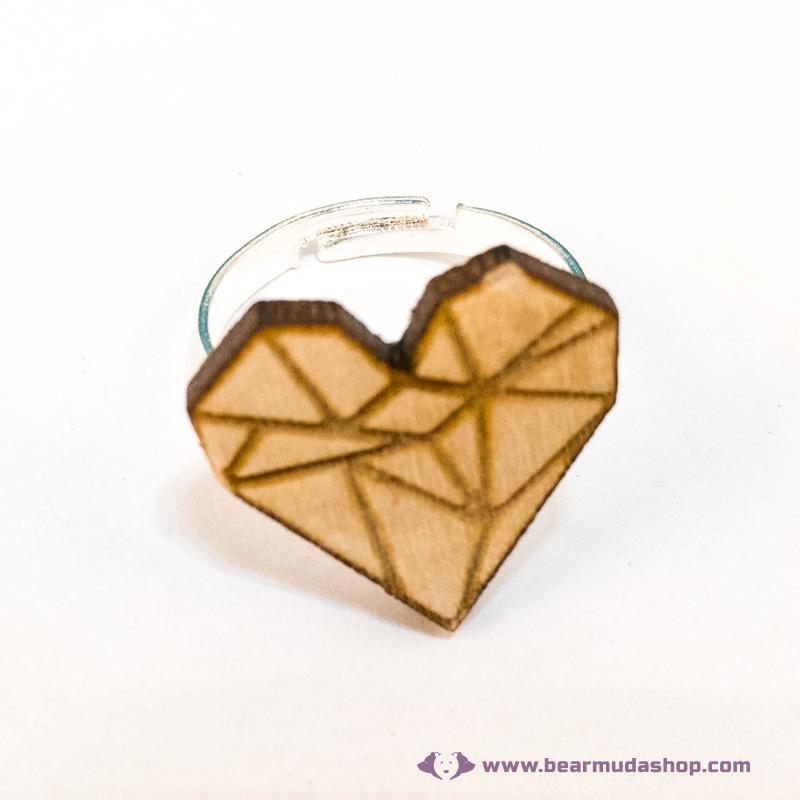 Geometrikus szív gyűrű, több színben
