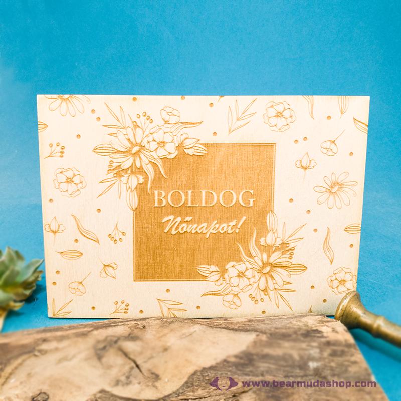Boldog Nőnapot üdvözlőkártya, több színben