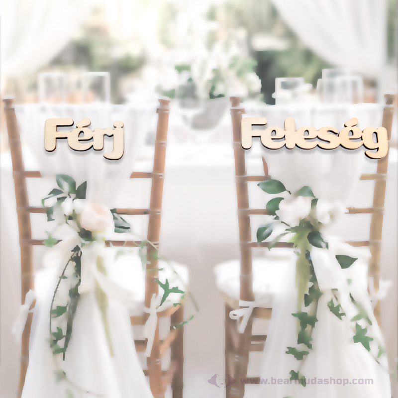 Férj és Feleség székre köthető feliratok, több színben