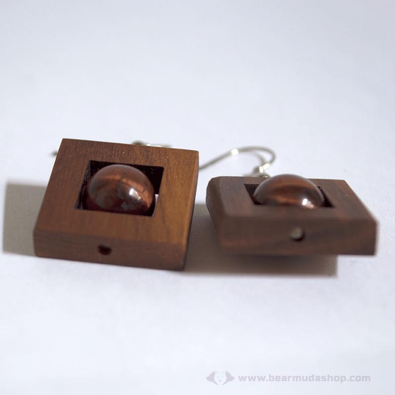 Macskaszem kő szögletes fülbevaló