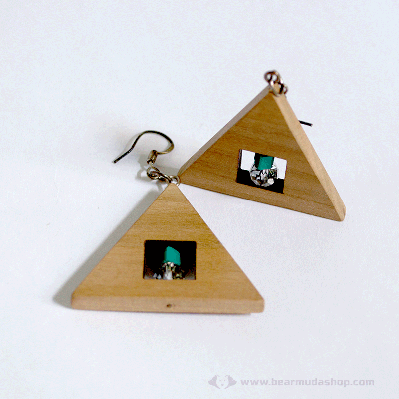 Kristály és türkiz háromszög fülbevaló